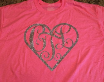 Heart monogram tshirt. Great for any occasion . Great birthday gift.
