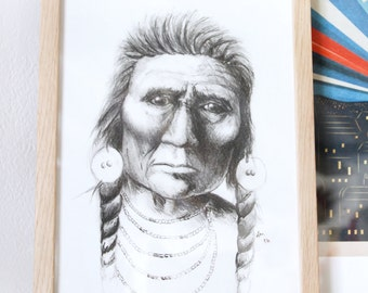 Portrait of native American, format A4 Limited Edition 10 best signed and numbered by hand. Handmade pencil sold without the frame.