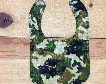 Flannel Camo Jeeps bib snap faster layette drool bib baby shower baby gift
