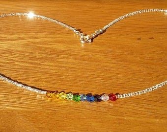 Rainbow crystal necklace.