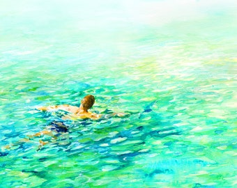 "Sydney Watercolour Painting - Print, ""Swimmer"", Sydney, Australia, Sea, , Sydney, Beach Decor, Print, Watercolor, Swimmer Watercolour"