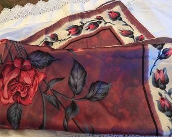 Prova Hand Rolled Silk Scarf. Watercolour Print Scarf. 50's Silk Scarf