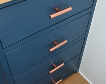 Modern Copper T Pull Handle. Drawer Pull. Cabinet Hardware.