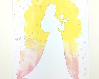 Disney Sleeping Beauty Princess Aurora Watercolour Painting in A5 and A4 print.