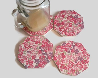 pink floral coasters - wooden hexagon coasters - flower coasters - bar decor - floral decor - best selling items - secret Santa gifts