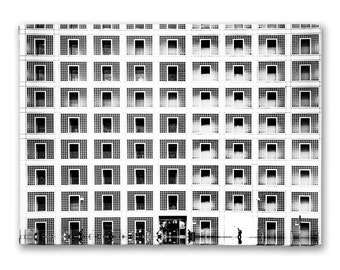 Black and white photo on canvas building library - in different sizes available!