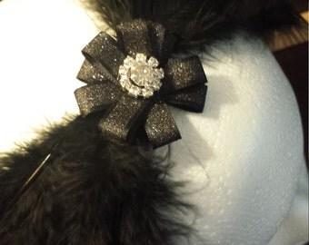 Swan Lake Ballet Feather Headpiece, Black Feather Tiara, Ballet Headpiece, Ballerina Hair accessory, Black Swan Headband