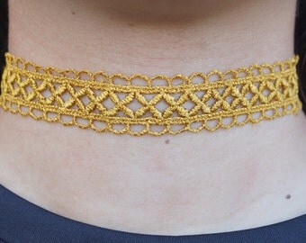 Gold Crochet Lace Choker Necklace