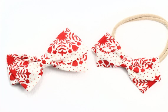Red and White Floral, Baby Girl, Toddler, Girls Fabric Bow, Newborn, Hand tied bow