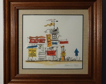 """Hand Water Colored Print - Roger Mason - Signed - """"Airport"""" - 1988"""