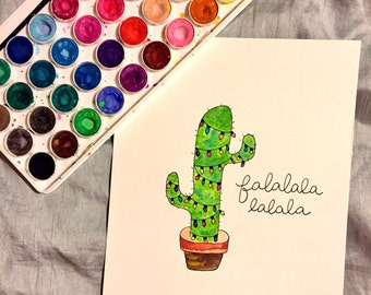 Falalalala Christmas Cactus Watercolor