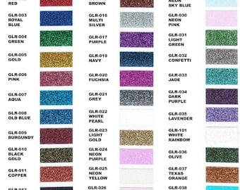 Glitter htv sample packs and 8x12 sheets