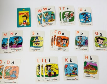 Vintage Walt Disney's Pinocchio Educational Card Game/Edu-Cards Pinocchio Game/Vintage Disney/Vintage Cards/Paper Ephemera/Disney Cards