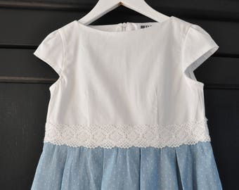 Cute cotton/jeans dress size EU 116, USA 5/6/6X. Handmade. Free shipping!