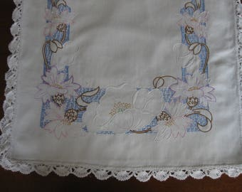 Lovely Vintage Table Runner Pale Flowers on a Blue Background