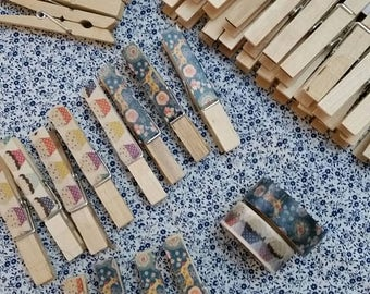 Cupcakes and woodland deer upcycled  wooden pegs