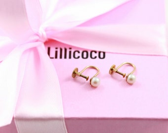 Antique Pearl Screw Back Earrings - 9ct Gold