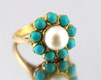 Fine 15ct Gold Cultured Pearl & Turquoise Howlite Statement Ring