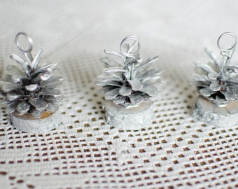 10 pcs silver pine cone place card holders rustic woodland wedding escort card holders table number