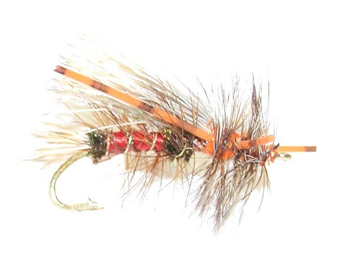 Hand-Tied Fly Fishing Trout Flies: Royal Red Crystal Stimulator Dry Fly - Hook Size 12