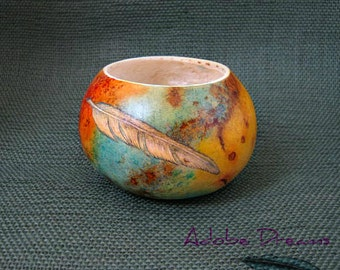 Gourd Container. Gourd Art. Mixed Media Unusual Gourd Art Handpainted Gourd. Gourd with Feather. Unique Gourd Great Gift Item for Him or Her