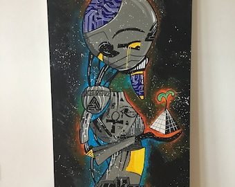 My own illustrated Canvas Painting (Black Pyramid)