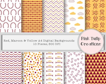 A4 Digital Clip Art Scrapbook Backgrounds - Mustard, Maroon and Red x 10