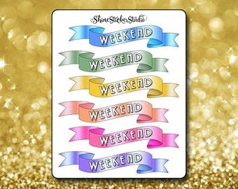 Weekend Wave Banner Stickers - Waving Weekend Banner Planner Stickers Erin Condren Life Planner Stickers ECLP Stickers Happy Planner