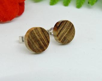 Wooden Earings,Olive Wood Studs,Wood Stud Earings,925 Silver Studs