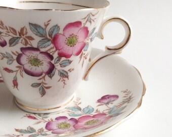Pink Colclough tea cup, Teacup with pink flowers, Vintage teacup, Bone China teacup,  Teacup and saucer, Art deco cup