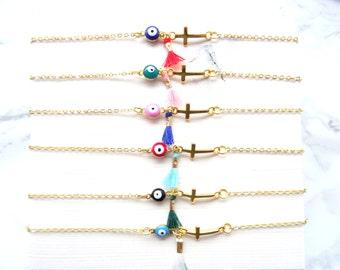 Tiny evil eye tassel bracelet, protection jewelry, cross bracelet, dainty delicate evil eye bracelet, minimalist simple bracelet, evil eye