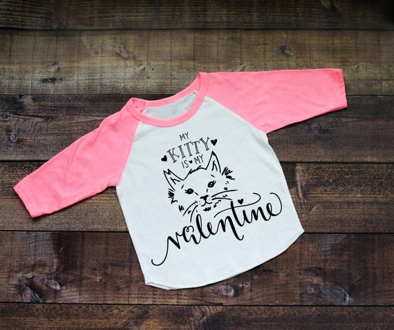 Valentine Kitty Baby's or Kid's 3/4 Raglan T-Shirt