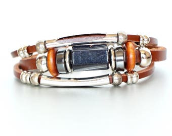 Black Sparkle Stone And Leather Bracelet, Brown Leather Bracelet, Metal Beads Bracelet, Faceted Stone Bracelet, Wrist Band LO 68