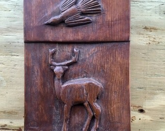 Primitive Appalachian Folk Art Carved Wooden Bas Relief Plaque With Stag and Bird Motif