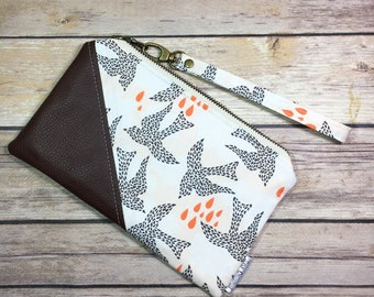 Date Night Clutch, Fabric Wristlet, Bird Fabric, Faux Leather Clutch, Mothers Day, Zipper Pouch, Bird Wallet, Chocolate Brown