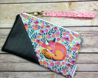 Date Night Clutch, Pink Fox Nap Fabric Clutch, Faux Leather Fabric Wristlet, Mothers Day, Tula Pink, Fox Wallet, Zipper Pouch