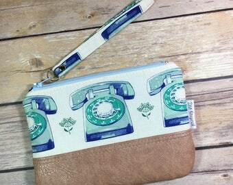 Rotary phone fabric wristlet, small clutch, faux leather wristlet, retro fabric, telephone fabric, small purse, cell phone wallet