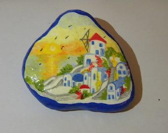 seafarer hand painted stone