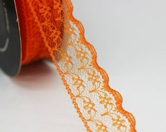 25 mm Orange Lace trim  - Seam (0.98 inches) Binding hem tape chantilly lace trim for bridal, baby, lingerie, hair accessories  -