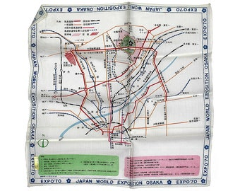 Vintage Handkerchief, Japan World Exposition Osaka 1970, Map, Mid Century, Never Used