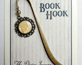Palmistry Chart brass book hook bookmark with dangling glass cabochon accent