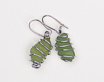 Sea glass earrings «Chinese Lanterns»