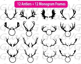 Deer Antlers Bundle SVG, deer horns svg, antlers monogram frames svg, ready to cut files for Cricut, Silhouette etc, also in png, eps & DXF