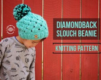 KNIT Diamondback Slouch Beanie PATTERN | Knit Pattern | Slouch Hat | Knit Beanie | Knit Hat | Instant Download