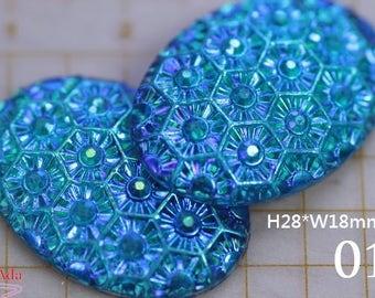 F40959-25x18mm 10 Blue-Green AB Flower Flat Back, Slightly Convex Oval, blue resin flower floral relief, Plastic Crystal Rhinestone.