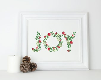 Joy Christmas Prints, 5x7, 8x10 Print, Instant Download, Holiday Decorations, Printable Art, Seasonal Party Decor, Sign, Digital Download