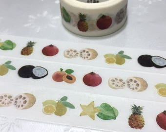 Fruit washi tape 5M star fruit pineapple lemon coconut peach Red pomegranate lotus root tropical fruit sticker tape fruit theme decor