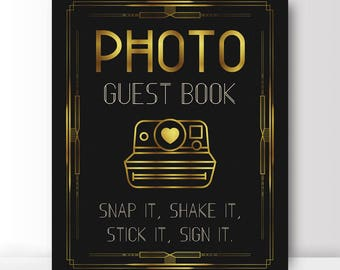 Photo guest book - snap it, shake it, stick it, sign it - Great Gatsby photo guest book - Art Deco photo guest book - PRINTABLE 8x10 - 5x7