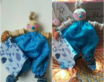 Baby doll, spool baby, baby boy gift, baby boy shower decoration, wooden spool doll baby, blue baby with blanket, baby with pacifier,so cute