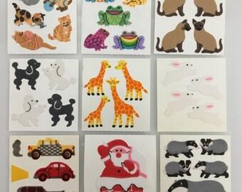Vintage Rare Sandylion Fuzzy Sticker Lot. Giraffe, Bunny Rabbit, Frogs, Cats, Dog, Santa, Cars. 9 squares
